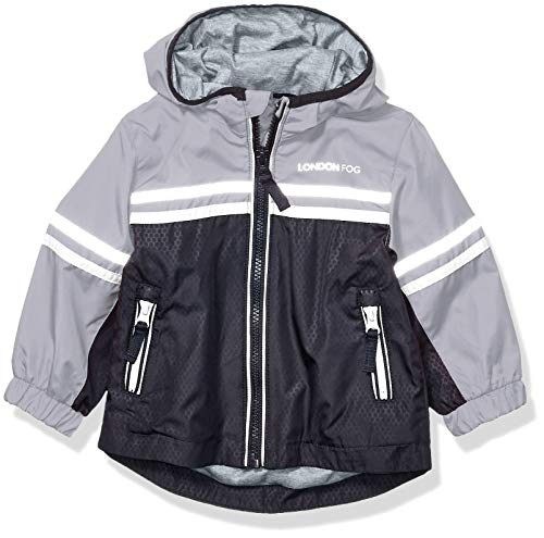 LONDON FOG Baby Boys Chest Stripe Poly Lined Jacket, Navy/Gray, 24 Months