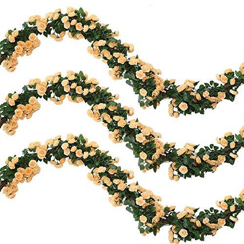 Veryhome 2Pcs 69 Heads 5.7FT Artificial Rose Vine Seda Falsa Flores Guirnalda Planta Floral Ivy Decoraciones para el hogar Arreglo de la Boda Partido Decoración del jardín Champagne