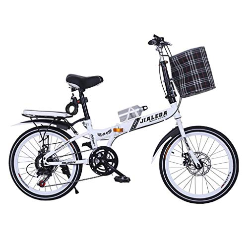 Gq2019 Folding Car Speed Change Car 20 Inch Folding Bicycle Disc Brake Bicycle Men and Women Mini Student Ultra Light Portable Bicycle (Color : RED, Size : 15030100CM)