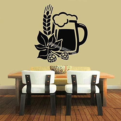 QIEGAO Cerveza Cereales de Trigo diseño Floral Etiqueta de la Pared diseño del hogar Barra de Bebidas Etiqueta de la Cocina decoración de la Cocina Mural Papel Tapiz impermeable-42x46cm