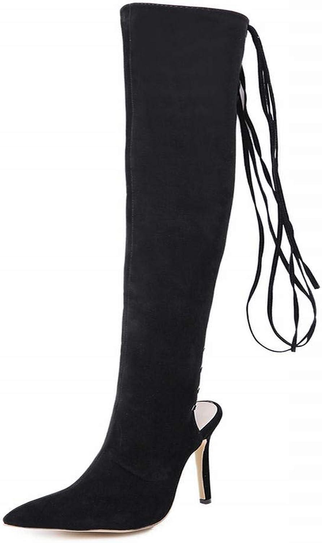 Igspfbjn Damenmode Stiefel Stiefel Stiefel Sexy Ausschnitt Cross Strap Overknee Stiefel (Farbe   schwarz, Größe   37)  36b476