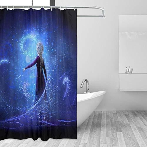 Die Eiskönigin Elsa Duschvorhang, Badezimmer-Duschvorhang-Sets, Stoff-Duschvorhang-Haken, 168 x 182,9 cm