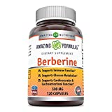Amazing Formulas Berberine 500mg 120 Capsules (Non-GMO,Gluten Free) - Supports Immune Function, Glucose Metabolism and Cardiovascular & Gastrointestinal  Function