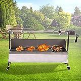 TryE Rotisserie Roaster Grill Skewer Spit Stainless Steel Hog Roasting Machine Charcoal BBQ Pig Lamb