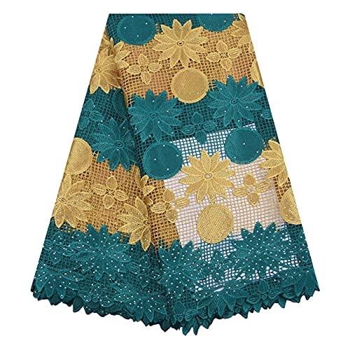 Zyoyotoy Tela Tela Africana Amarilla Malla de Encaje Guipur Cordón Tela Nigeria Nigeria Cordón Tela Tela Vestido de Novia 5 Yardas (Color : 19196)