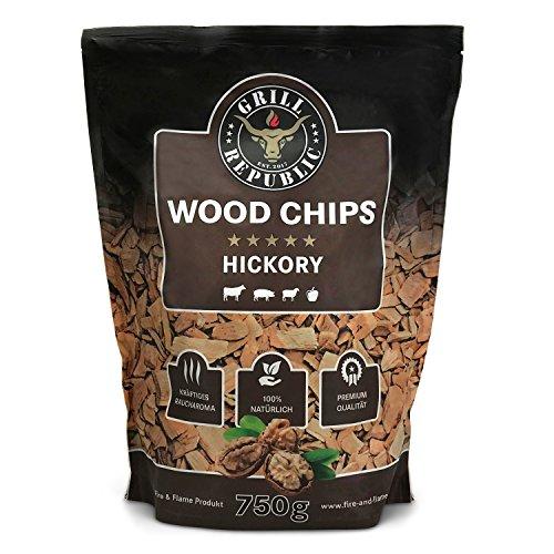 Premium Hickory Räucherchips für optimales Raucharoma beim Grillen | 100% Natürliches Smoker-Holz geeignet für Kugel-, Stand- und Gas-Grill | Extra große 750 Räucherchips Testsieger