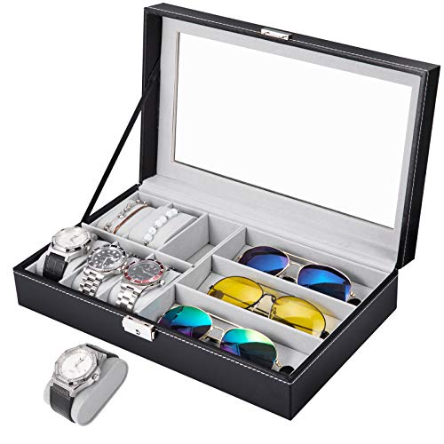 APL Display Watch and Sunglasses Jewelry box, 6 Watch Box Jewelry Case and 3 Slots Sunglasses Organizer, PU Leather Eyeglass case Watch and Sunglasses Box for Men Women, Black