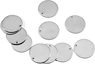 Gemful 10 Pcs Round Stainless Steel Stamping Blank Tag Pendants Stainless Steel Charms for DIY Jewelry Making Supplies Metal Engraving Dogs Tags 40mm (Silver)