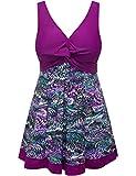 Wantdo Women's Modest Swimsuit One Piece Swimwear Beachwear Purple US 6-8
