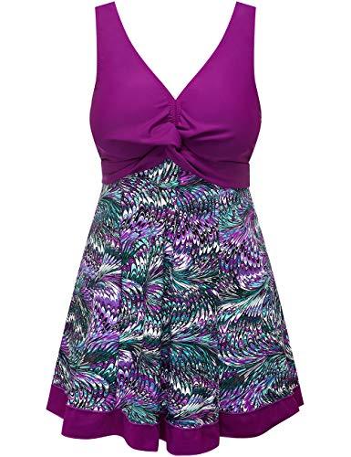 Wantdo Women's Vintage Swimsuit Cute Swimwear Bathing Suit One Piece Purple US 16-18