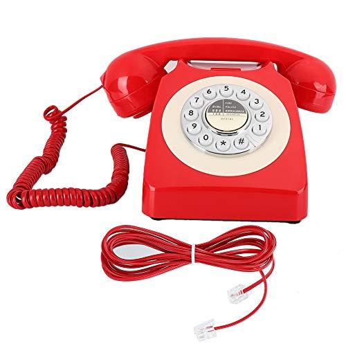 YUN Teléfono Retro Vintage Teléfono Antiguo Hotel Re-Dial Teléfono Fijo Manos Libres Escritorio Rojo