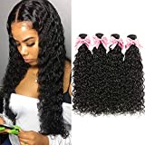 9A Brazilian Virgin Hair Water Wave 4 Bundles (20 22 24 26) 100% Unprocessed Human Hair Extensions Natural Black Color Can Be Dyed