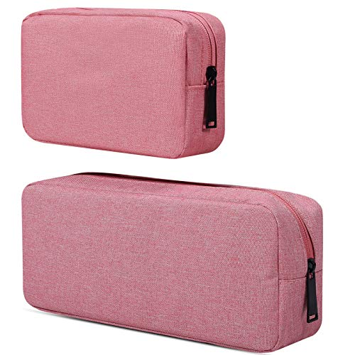 Electronic Accessories Organizer, Durable Small Electronics Accessories Storage Bag Compatible Laptop Charger Various USB,Cables,Cords and Power Travel Gadget Carry Bag,Pink(Small+Big)