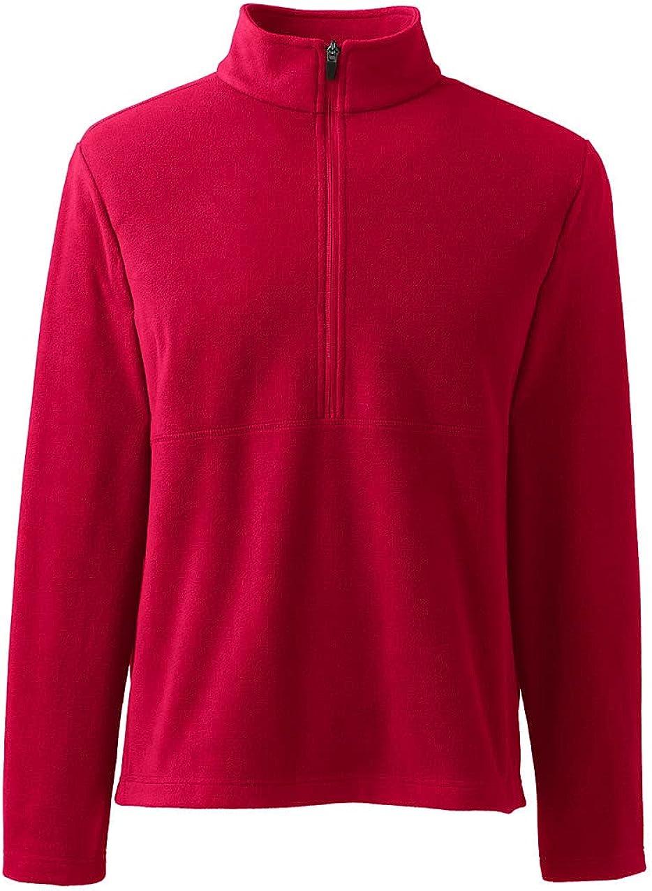Lands' End Men's Thermacheck 100 Fleece Quarter Zip Pullover Top