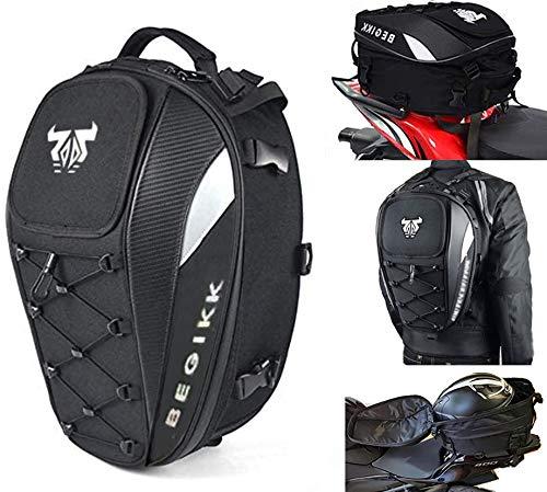 Motorcycle Tail Bag Seat Helmet - 38L Motorcycle Backpack Waterproof Luggage Bags Waterproof Luggage Bags Motorbike Helmet Bag 25L-38L Large Capacity Dual Use Bag (White)