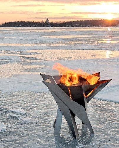 SvenskaV Design-Feuerkorb/Feuerschale 'Phoenix' aus massivem Stahl Gr. L