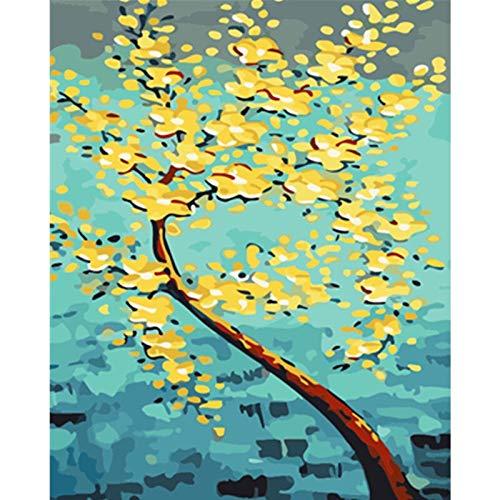 Zhxx Acryl Schilderen door cijfers Kit Gouden Boog Rijke Bloem Bruiloft Ation Art Foto Op Canvas Gift 16X20 Inch Met frame