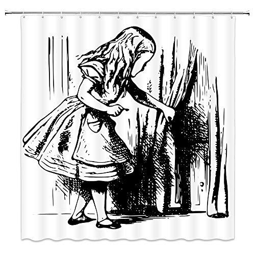 Alice Little Girl Wonderland Shower Curtain Black and White Girl Through Curtains Adventure Cloth Fabric Bathroom Decor Set with Hooks 70 Inch