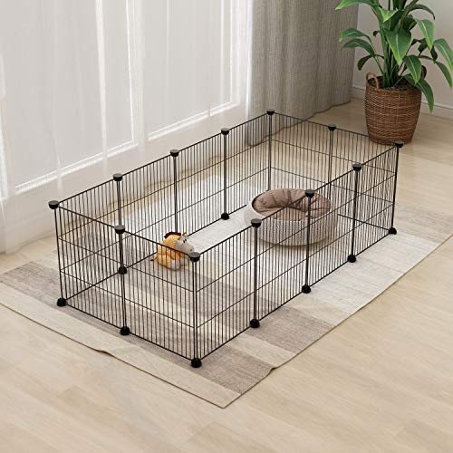 Tespo Pet Playpen, Small Animal Cage Indoor Portable Metal Wire yd Fence for Small Animals, Guinea Pigs, Rabbits Kennel Crate Fence Tent, Black 12 Panels