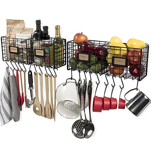 Wall35 Amalfi Metal Wire Baskets for Kitchen or Pantry Organization and Storage Wall Mounted Fruit Basket Set of 2 with 20 S Hooks Black