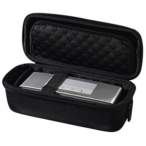 Hama Lautsprecher Tasche für Mobile Speaker wie z. B. Bose Soundlink Mini (robustes Hardcase, stoßfest, weich gepolstert, Innenmaße 22,2 x 6,5 x 8,5 cm) schwarz