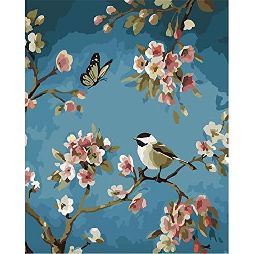 Whinop Pájaros con Pintura De Pintura Al Óleo De Bricolaje De Flor por Numero Kit, Pintura para Adultos para Adultos Artes De Arte para Niños para La Decoración De La Pared del Hogar 40x50cm