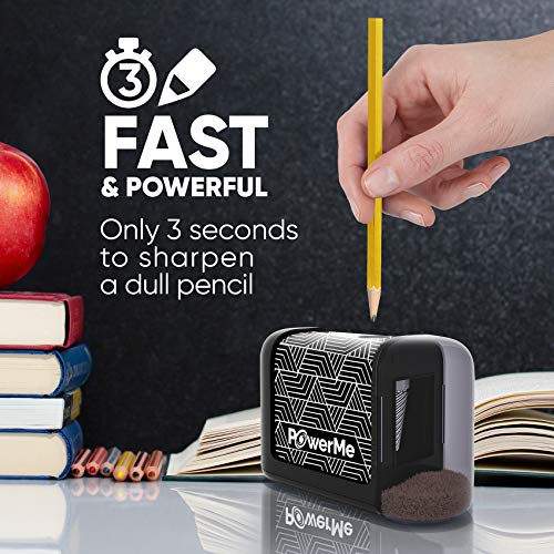 POWERME Electric Pencil Sharpener - Pencil Sharpener Battery Powered for Kids, School, Home, Office, Classroom, Artists – Battery Operated Pencil Sharpener For Colored Pencils, Ideal For No. 2 (Black) Photo #7