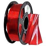 YOYI 3D Printer Filament,PETG Filament 1.75mm 2.2lbs(1kg) Spool, Dimensional Accuracy +/- 0.03 mm,100% Europe Raw Material (Transparent Red)