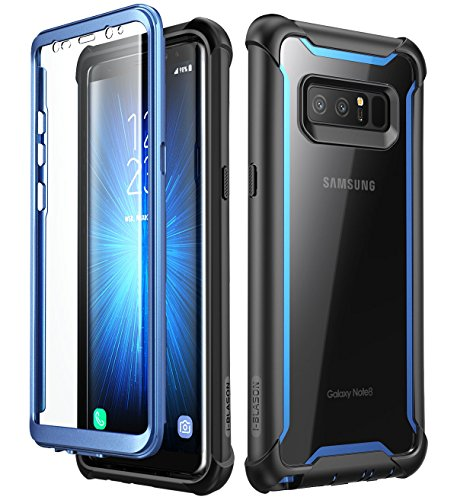 i-Blason Case for Galaxy Note 8 2017 Release,  Ares Series  Full-body Rugged Clear Bumper Case with Built-in Screen Protector (Black/Blue)