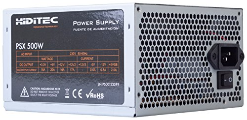 Hiditec PSX - Fuente de alimentación (500 W, 115-230 V, 50-60 Hz, ATX, 2 conectores SATA, 2 conectores MOLEX, Ventilador silencioso de 120mm) plateado