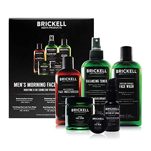Brickell Men's Morning Face Care Routine II, Purifying Charcoal Face Wash, Alcohol Free Toner, Face Scrub, Eye Cream, Day Serum and Daily Face Moisturizer, Natural and Organic, Unscented