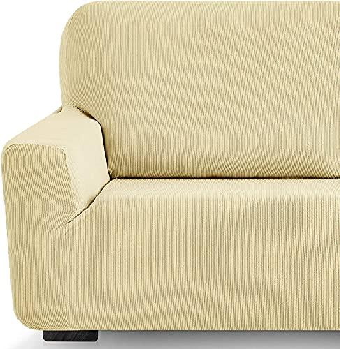 Funda elástica Sofa Adaptable rústica (2 Plazas (130-180 cn), Beige)