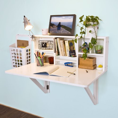 Haotian FWT07-W,White Folding Wooden Wall-Mounted Drop-Leaf Table Desk Integrated with Storage...
