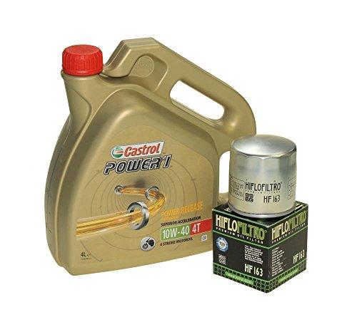 Cambio de aceite Set 4litros Castrol SAE 10W de 40Power 14t Incluye Filtro de aceite HiFlo hf163para BMW K 75, R 850, K 1100, R 1150, K 1200, R 850, R 1100, R 1200, MZ/MUZ 1000