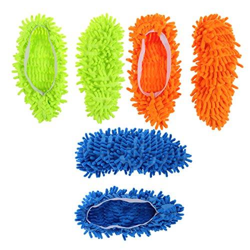 BESTOMZ 3 Pairs Microfiber Dust Mop Slippers Multi-Function Floor Cleaning Shoe Covers Dust Hair Cleaner Foot Socks Mop Caps