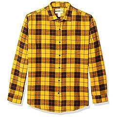 Amazon Essentials (アマゾン エッセンシャルズ) メンズ レギュラーフィット 長袖 チェック柄 フランネル シャツ