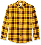 Amazon Essentials - Camisa de franela a cuadros de manga larga y ajuste regular para hombre, Amarillo (Yellow Plaid), US S (EU S)