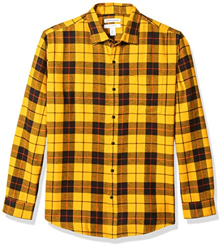 Amazon Essentials - Camisa de franela a cuadros de manga larga y ajuste regular para hombre, Amarillo (Yellow Plaid), US L (EU L)