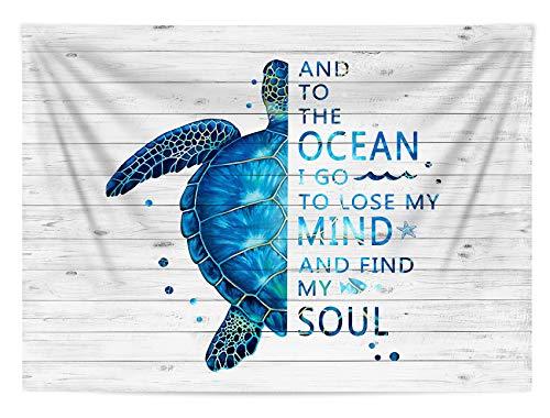 """Tapeçaria de tartaruga azul da HVEST, vida marinha, tartaruga marinha em placa de madeira rústica, tapeçaria para pendurar na parede, palavras inspiradoras, decoração de tapeçaria de parede para sala de estar, quarto, dormitório de faculdade, Azul, 60"""" x 40"""""""