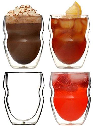 Ozeri DW080S, Set di 4 bicchieri da caffè termoresistenti, in vetro con doppio fondo, da 235ml