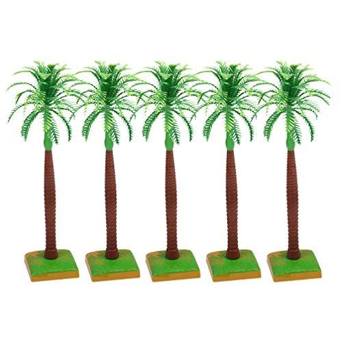 Amosfun Coconut Palm Model Trees Scenery Model Plastic Artificial Layout Rainforest Diorama Building Model Trees Cake Topper Model Railways Architecture Landscape 5pcs