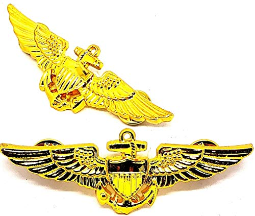 USN US NAVY Pilot Aviator Aviation Wing Badge GOLD PLATED Pin Insignia Regulation Size 3'