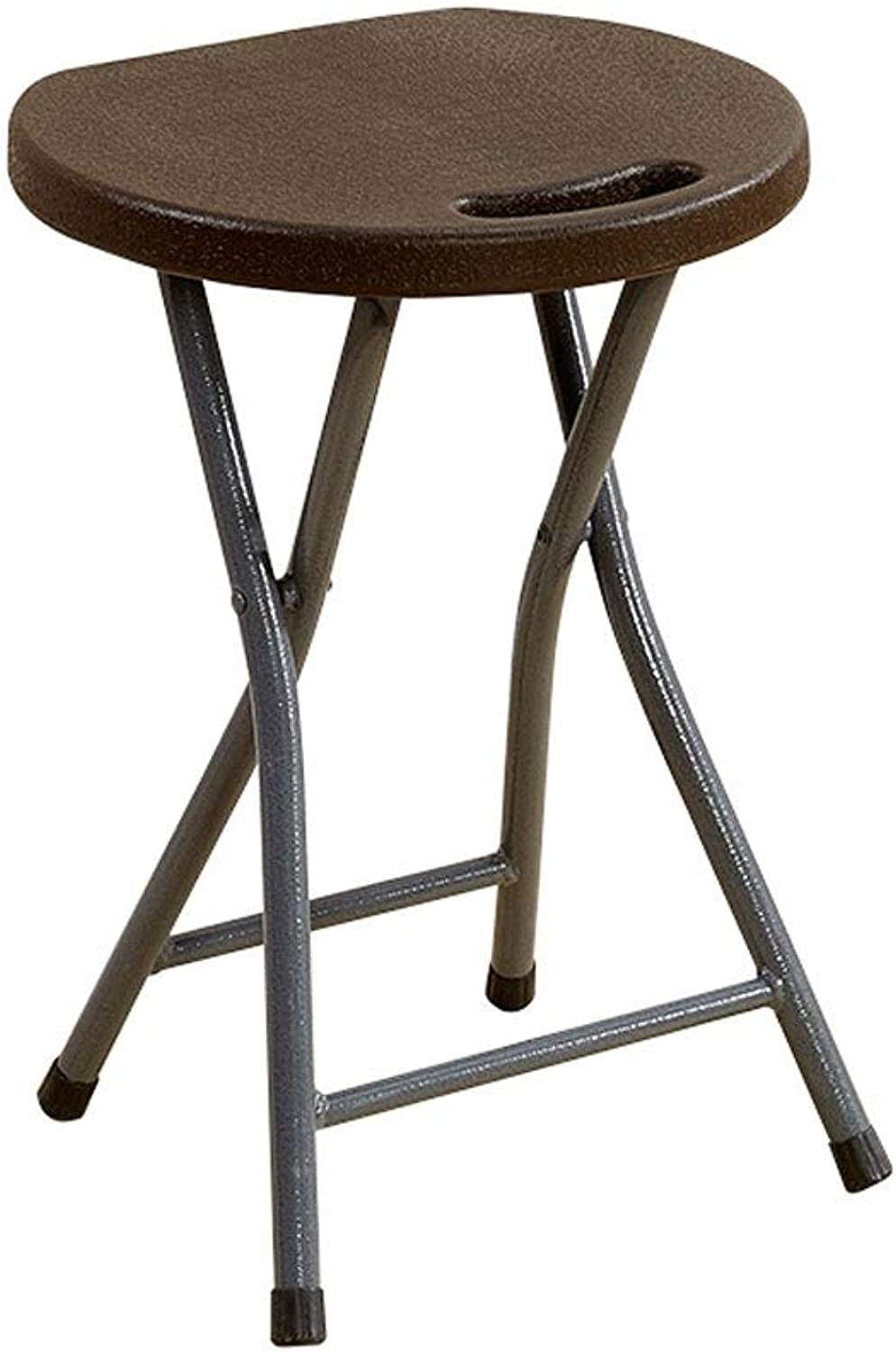 A+ Household Folding Chair,Outdoor Plastic Folding Stool,Portable Dormitory Stool,Thickened Stool Home Small Bench - 32cmX29cmX46cm (color   Brown)