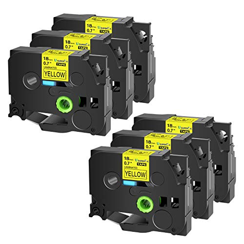 USUPERINK 6 Pack Compatible for Brother TZe641 TZe-641 TZ-641 TZ641 18mm 3/4'' x 26.2ft Laminated Black on Yellow Label Tape use in PTD400AD PTD400VP PT-D600 PTD600VP PT-P700 Label Maker