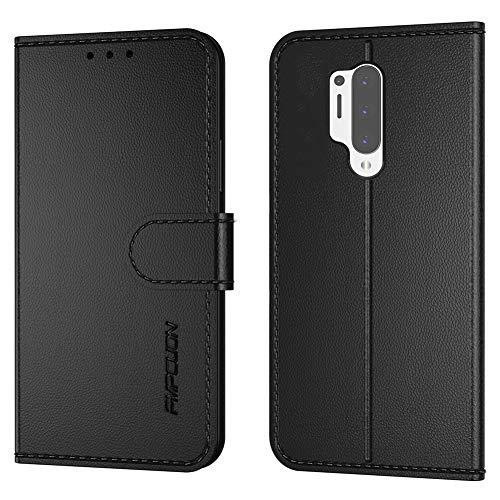 FMPCUON Handyhülle Kompatibel mit Oneplus 8 Pro(Neueste),Premium Leder Flip Schutzhülle Tasche Hülle Brieftasche Etui Hülle für Oneplus 8 Pro(6,78 Zoll),Schwarz