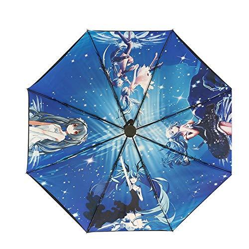 futurecos Anime Umbrella Hatsune Miku Folding Umbrellas for Rain Sunlight Auto Open Windproof 3D Print Pattern Black 8 Ribs