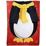 Genuine Snug RU - Coperta in Pile con Le Maniche a Tema Natalizio Pinguino, 137 x 183 cm