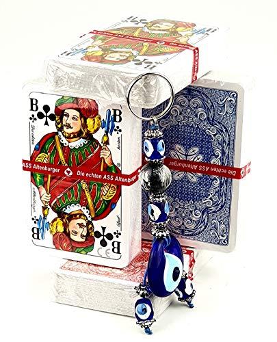 Ass Altenburger Spielkarten in Profi-Qualität für Romme, Bridge, Canasta, Poker oder Skat geeignet/ 4 Spiele Decks a 55 Blatt Rot-Blau/ Plus 1x Glücksbringer-Anhänger von KD (Evil Eye)