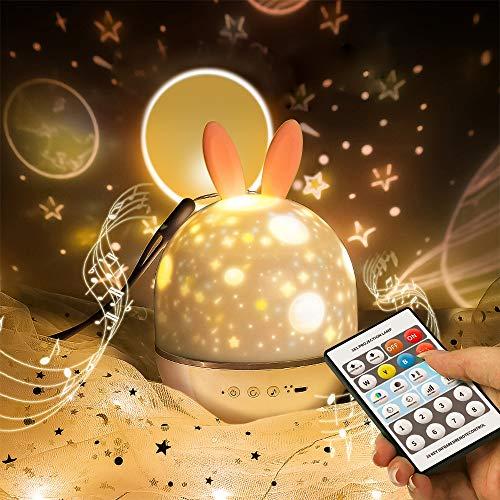 Lámpara Proyector Estrellas, Proyector Bebe de conejito lindo SYOSIN con temporizador giratorio y 8 lámparas de canción integradas regalos de carga USB para niño y niña