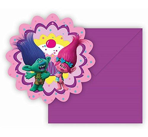 Partyklar Trolls Trolle 6 Einladungskarten